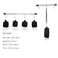 Wholesale Metal Neck Handcuff - Hot Stainless Steel Metal Spreader Bar BDSM Bondage Kit Slave Roleplay Neck Collar Handcuffs Ankle Cuffs Sexual Abuse Toys for Couples