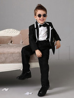 Wholesale Custom Dress Korea - 2017 High quality Korea style Four Pieces Luxurious Black Ring Bearer Suits Boys Tuxedo With Black Bow Tie kids formal dress fashion kids