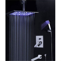 "Wholesale Square Rain Shower Led - Wholesale And Retail Promotion LED Color Changing 8""   10""   12""  16"" Rain Bathroom Shower Faucet Bathtub Mixer Hand Shower Tap"