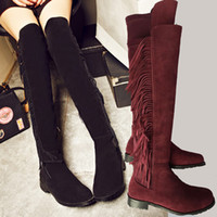 Wholesale Flat Leather Thigh High Boots - hot! u463 34 40 genuine leather thigh high tassel flat boots black brown tan maroon grey over the knees