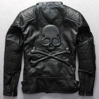 erkek cüzdan deri ceket toptan satış-Güz-Moda erkek motosiklet ceket kafatasları ile siyah dana hakiki deri ceket kalın punk giyim marka jaquetas de couro