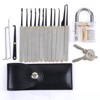 Wholesale Key Extractor Tool - Factory Free Shipping! Locksmith tool Transparent Practice Padlocks + 12 Piece Unlocking High Yield Lock Pick Set Key Extractor Tool SYG-114