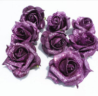 Wholesale Kiss Heads - Glitter Foam PE Artificial flowers rose head Real touch Home wedding party decoration 8cm artifical flores DIY Kissing ball HJIA030