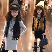 Wholesale Brown Child Cardigan - 2016 Girls Sleeveless Tops Cardigan Children Clothing Child Tank Top Kids Clothes Kid Fringe Vest Jacket Spring Summer Brown Black