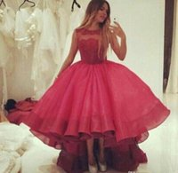 Wholesale Tulle Puff Skirt - 2015 Stunning Burgundy Crew Sheer Neckline Short Prom Party Dresses Puff Organza Skirt Hi Lo Evening Gowns Lace Appliques free shippig hot