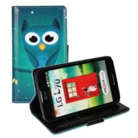 Wholesale Drawing Pattern Case - Owl coloured drawing or pattern Retro L70 case Flip Cover Luxury Genuine Leather Case for LG L70 Mobile phone bag wallet case