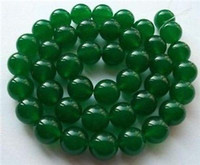 "Wholesale 12mm jade - 4MM 6MM 8MM 10MM 12MM Natural Green Jade Emerald Round Gems Loose Beads 15""AAA"