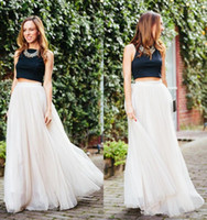 Wholesale Dress Korea Long Skirt - 2015 Summer Korea Style Women Long Tutu Chiffon Skirts Floor Length Long a Line Skirts The Fairy Full-Skirted Dresses