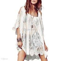 hippie corto de ganchillo al por mayor-S5Q Mini vestido floral del vintage Boho Hippie Crochet Lace Lace Short Short Tops AAADSY envío de la gota libre de China ropa fábrica