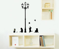 Sous les Black Cats lumière jouant avec Birds Wall Decal Sticker Salon décoratif Autocollant Black Cats Wall Sticker Decal