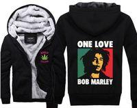 Wholesale Up Bob - Jamaica Reggae Bob Marley One Love Super Warm Thicken Fleece Zip Up Hoodie Men's Coat Black Free Shipping
