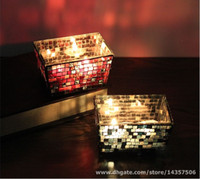 centro de mesa azul rojo al por mayor-Portavelas de mosaico de vidrio Votive Rectangle Red Blue Mosaic Tealight Holder romántico pieza central decorativa para comedor Bar fiesta
