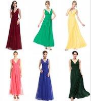 Wholesale Modest Wholesale - Modest Burgundy Bridesmaid Dresses Elegant Deep V Neck Long Chiffon Crystal Maxi Evening Dress Cheap Navy Light Blue Bridesmaid Dress