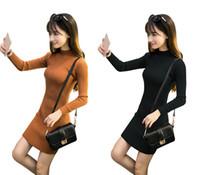 Wholesale Women S Wool Mini Skirts - New han edition half a turtle neck long sleeve knit dress skirt length: MIDI; Style: the sleeve length: long sleeves; Led type: half a turtl