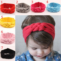 Wholesale Elastic Hair Headbands - Children Hair band 2015 new lovely baby Elastic force cotton knot head Hair Accessories 7 color B001