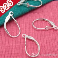 Wholesale Hoops Bulk - Bulk Price-Min 20piece,Real 100% 925 Sterling Silver!!! 10*17mm Lever-back Earring Hook with inner 1.5mm Hoop for diy Jewelry