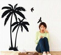 виниловые наклейки оптовых-Пальмовое кокосовое дерево птица росписи DIY виниловые наклейки наклейка стены искусства декор