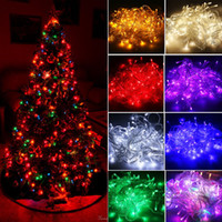 Wholesale Tail Plug Blue - Christmas Eve Christmas Tree Multicolor Outdoor Decoration Lamps LED String Lights With Tail Plug 10M 100LED For Wedding Christmas Garden