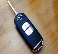 couverture à distance flip modifiée achat en gros de-Remplacement de clé de voiture Mazda 3/6 2 boutons modifiés Flip Remote Key Case Blank Cover + Livraison gratuite