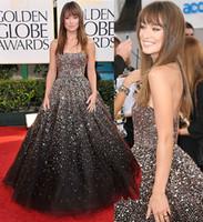 Wholesale Olivia Wilde Dresses - Olivia Wilde Golden Globes Ball Gown Crystal Sequins Beaded Celebrity Red Carpet Dresses Strapless Sparkle Glitter Formal Evening Dresses