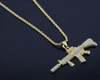 york platten großhandel-18 karat Gold Überzogene Rapper M4 submachellone gun Halskette 75 cm Gold Farbe HIPHOP New York herren Anhänger halsketten 2017 Juli
