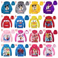 Wholesale Hoodies Cars - 16 Designs kids cartoon jackets children's Hoodies Sweatshirts Mickey Minnie Frozen Spiderman Car KT baby casual clothing Hoodies Free DHL