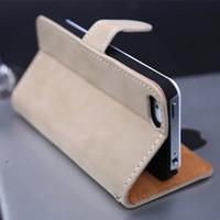 caso do projeto iphone5 venda por atacado-Atacado-soft luxo carteira estojo de couro para iphone 5 5s com suporte flip book design com cartão titular phone case para iphone5 5s iphone5s