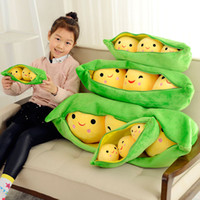 "Wholesale Stuffed Peas Pod - Wholesale-Free shipping 1pcs 25cm=9.8"" Super Cute Little Peas Stuffed Plush Doll 3 Peas in a Pod Pea plush Toy"