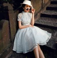 Wholesale Chiffon Knee Length Skirt L - 2017 Casual Dresses Lace material Polka Dot Dress lace dress tutu skirt Chiffon Classic elegance,Classical