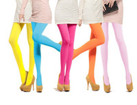 Wholesale Brown Velvet Tights - 2016 Hot Sale Fashion Sexy Kawaii Cute 120D Velvet Seamless Pantyhose Candy Color Tights Opaque Collant Women 16 Color Medias Tocas