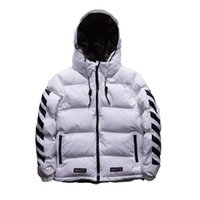 Wholesale white long puffer coat - Men Puffer Jacket Striped Cotton Padded Parka Coat Long Sleeve Hooded Quilted Jacket High Quality Winter Warm Overcoat OSG0901