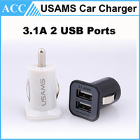 Wholesale Double Port Car Charger - USAMS 3.1A Double USB Ports Car Charger Adapter Universal For iPhone Tablet PC iPhone Samsung HTC Dual Ports Charger DHL 100pcs