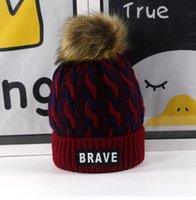 Wholesale Braves Beanie - 1pcs Hiking rope children hat label BRAVE boys and girls elastic warm hair ball cap wholesale