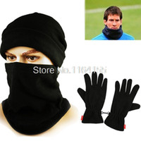 Wholesale Wholesale Soccer Scarves - Wholesale-Hat Scarf and Gloves Set for women men winter Outdoor sports Caught wearing soccer fleece cashmere face mask Football YT03