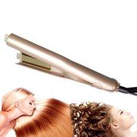 Wholesale Ceramic Curler Iron - Iron Hair Straightener Iron Brush Ceramic 2 In 1 Hair Straightening Curling Irons Hair Curler EU US Plug 0604091