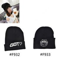 Wholesale Hip Hop Style Beanie Hats - Wholesale-KPOP GOT7 BTS Bangtan Boys Same Style Fan Made Hip Hop Black Knitted Hat Warm Beanies Cap