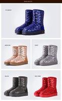 Wholesale Women Flat Bling Shoes - 5 colors Women Boots 2017 Winter Bling Paillette Snow Boots Warm Winter Shoes Flat Ankle Boots Waterproof Sequins Decoration