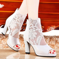 Wholesale Cheap Chunky Heel Ankle Boots - Cheap Lace Peep Toe Wedding Shoes High Heel Bridal Ankle Boots White Black Evening Party Prom Sandals Embroidery Bridal Shoes