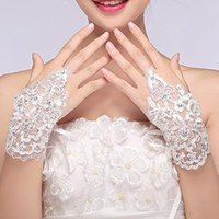 Wholesale Cheap White Gloves Wholesale - 2014 New Arrival Cheap In Stock Lace Appliques Beads Fingerless Wrist Length With Ribbon Bridal Gloves Wedding Acce red white ivory 10P Lots