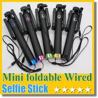 neues monopod großhandel-2015 neue tragbare faltbare Mini Wired Selfe Stick Audio Kabel nehmen Pole Handheld Selbstporträt Einbeinstativ keine Bluetooth