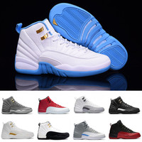 Wholesale Dark Wolf - With Box air retro 12 men Basketball Shoes flu game wolf grey University blue Dark Grey ovo white taxi GS Barons Sports Sneakers