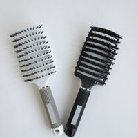 Wholesale Black Hair Extensions Salons - Professional hair extensions Bristle Hair Brushes comb Anti-static Heat Curved Vent Barber Salon Hair Styling Tool Rows Tine Comb
