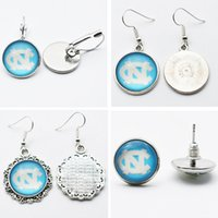 Wholesale North Carolina Wholesalers - 10Pairs Charm Sports Team NCAA North Carolina Glass Stud Earrings Pendant Earrings For Women Jewelry Gift