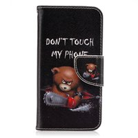 Wholesale Card Cute Design - Vogue Design Cartoon Little Cute Bear Painting Wallet PU Leather Flip Case Stand With Card Slot Soft Silicon Inner Case For S7 S6 S6 S7edge