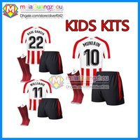 Wholesale Boys Athletic Shorts - kids KITS+ Athletic Bilbao Socks 2017 SUSAETA GURPEGUI MUNIAIN Jersey Home 18 shirt Athletic Club Bilbao Kids Jerseys Football uniform