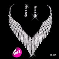 Wholesale Earrings Necklace Black - In Stock Sparkly Bridal Jewelry Sets Necklace Earrings Crystal Rhinestone Silver Accessories for Prom Party Wedding 2015 Black Friday 15057