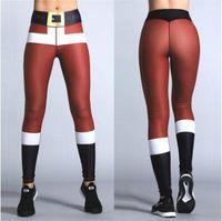 Wholesale yoga pants patterns online - Christmas D Printing Leggings Women Santa Claus Pattern Stretchy Sport Trousers Casual Yoga Pencil Pants CCA8370