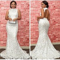 2018 New Fashion Arabo Dubai Sud Africa Mermaid Abiti Da Sposa Completa In Pizzo Backless Sweep Treno Abiti Da Sposa Sexy Custom Made Plus Size