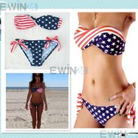 Wholesale Twist Bikini Set - American Flag Stars and Stripes USA Padded Twisted Bikini Bandeau Swimwear S M L 2pcs set