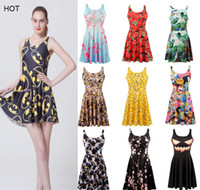 Wholesale Girls Dress Polka Dot Sleeve - Retail mixed style Women's 3D printing black milk leaf galaxy batman spider-man elastic summer sexy Girl skater one-piece pleated vest dress
